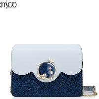 2017 Brand Design Luxury Diamond Mermaid Lock Sequin Clutch Women Handbag Party Messenger Bag Patchwork Blue