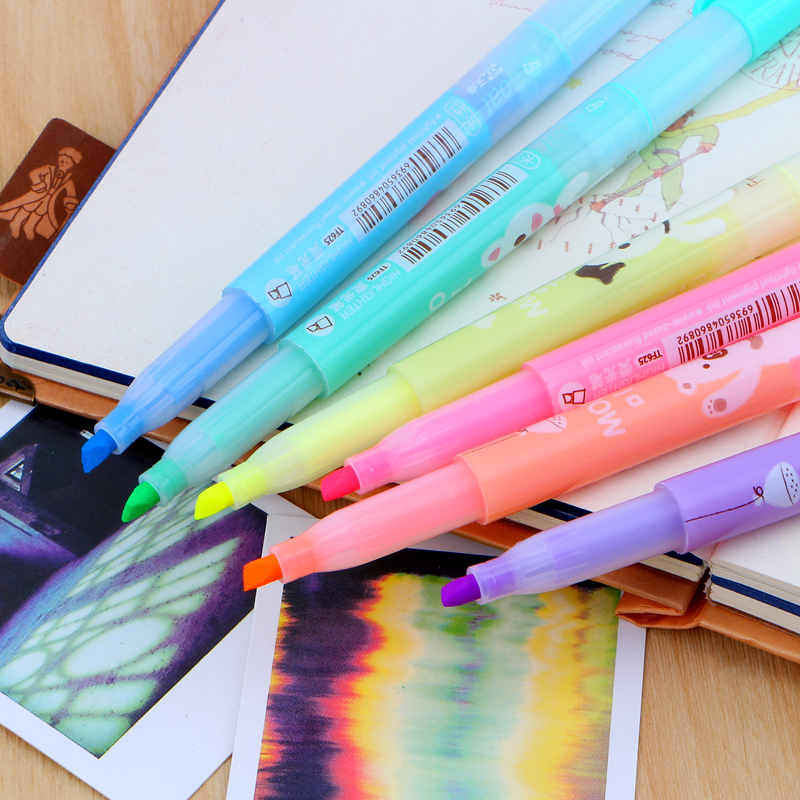 6 pcs lot 2016 new cartoon cute creative focus stud highlighter marker pen marker office school supplies baby gift free shipping in Highlighters from Office School Supplies