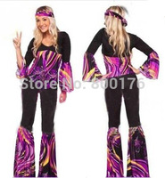 Free shipping zy535 New 2015 Ladies 80s Retro Hippie Go Go Girl Disco Costume Fancy Dress Hen Xmas Party size s 2xl