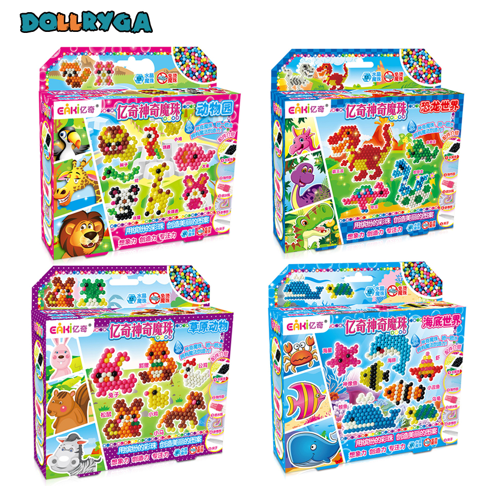 DOLLRYGA 3D Beads in Puzzle For Children DIY Aqua Set Bead Cuentas For Kid Artesanato Material Jouet Enfant Foam Beads Girl Gift(China)