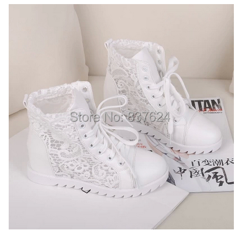 fashion spring and summer women black/white lace sneakers