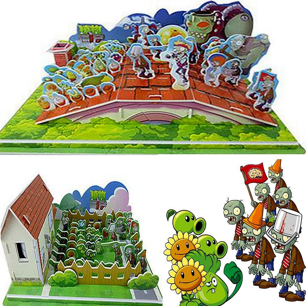 48 pcs/lot Plants vs Zombies Round Cards Shaped Pea Shooter