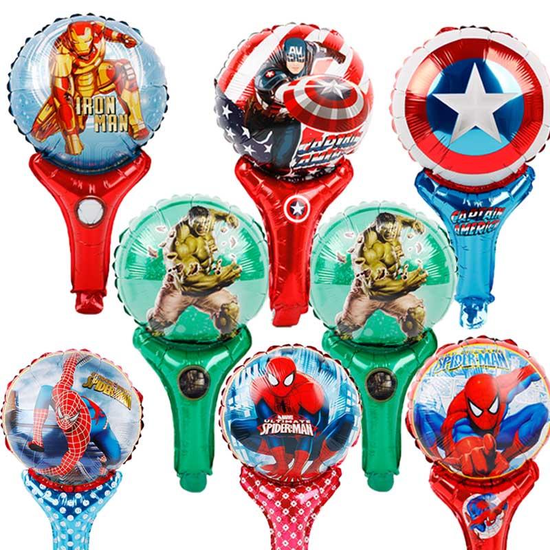 Avengers Alliance superhero Hulk stick foil balloons 7kinds 20pcs/lot Super hero theme party decorations hand globos wholesale