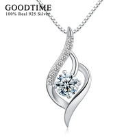 GoodTime 100 Real 925 Sterling Silver Necklaces Pendants For Women Fine Jewelry CZ Zircon Necklaces For