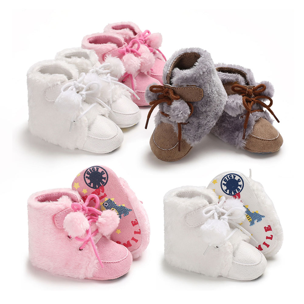 MrY Newborn Winter Baby Boys Girls Soft Sole Shoes Warm Boots Anti-slip Sneakers Soft Bottom Warm Plus Fluffy Hair Ball