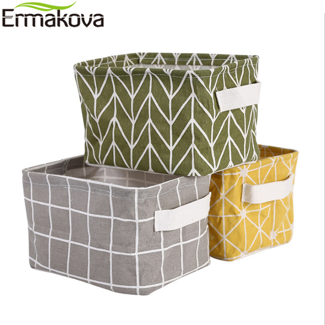 Ermakova Folding Linen Storage Basket Sundries Fabric Bins Organizer Bag For Nursery Makeup Book Baby