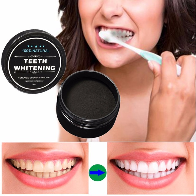 30g Teeth Whitening Powder Smoke Coffee Tea Stain Remove Bamboo