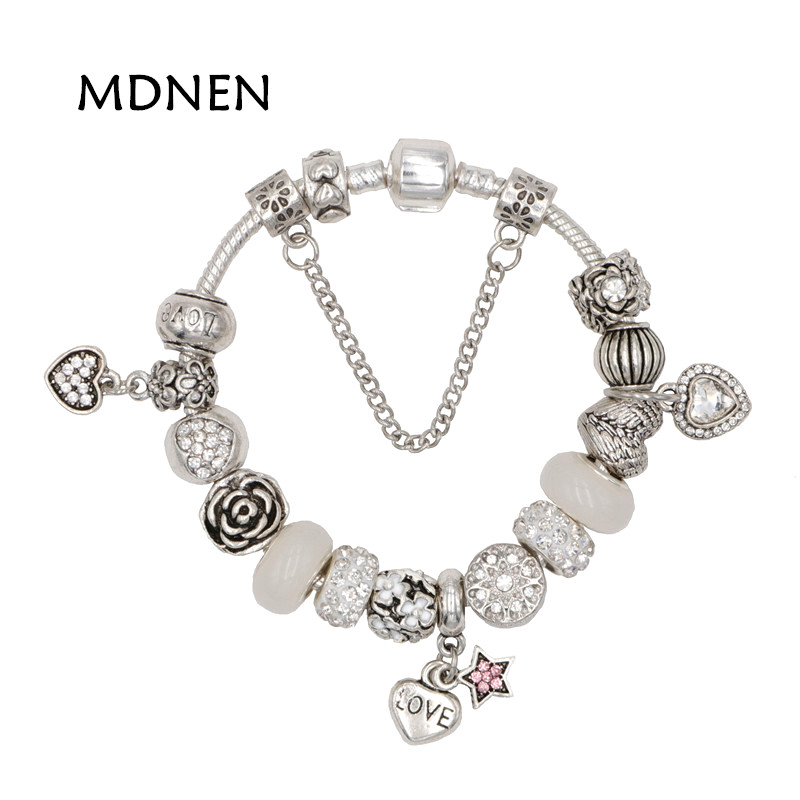 MDNEN High Quality Noble Pretty Silver plated LOVE Heart pendant Charm Pandora Bracelets For Women Grils Fashion Gift BYBR038