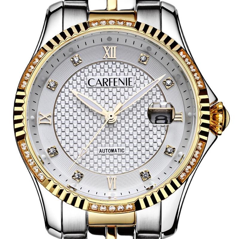 Carfenie Men Black Watch Luxury Automatic Mechanical Wristwatches Waterproof Top Brand Fashion Watch Gold Clock Montre Homme