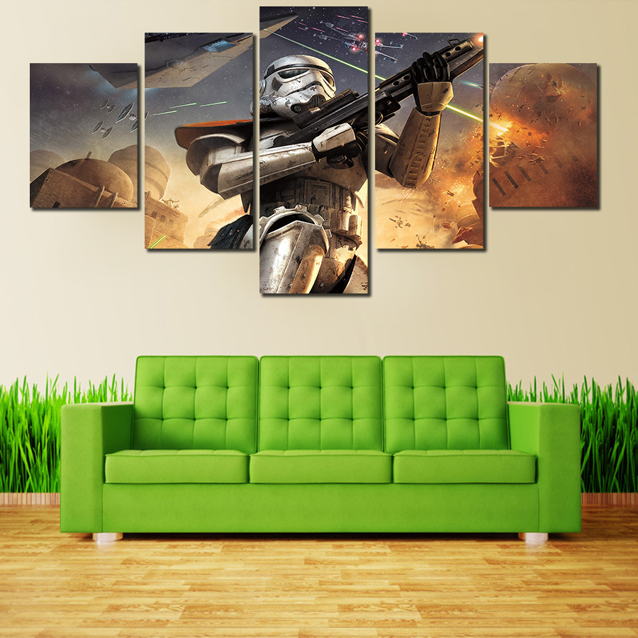 5 pieces set star wars home decor canvas print canvas print painting modern wall pictures for