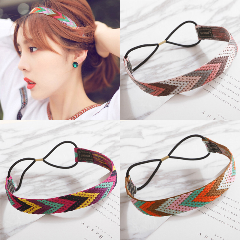 Women Hair Bands Patchwork Headbands Retro Cross Turban Bandage Ladies Hair Accessories Girls Headwrap Elastic Geometic   Headwear