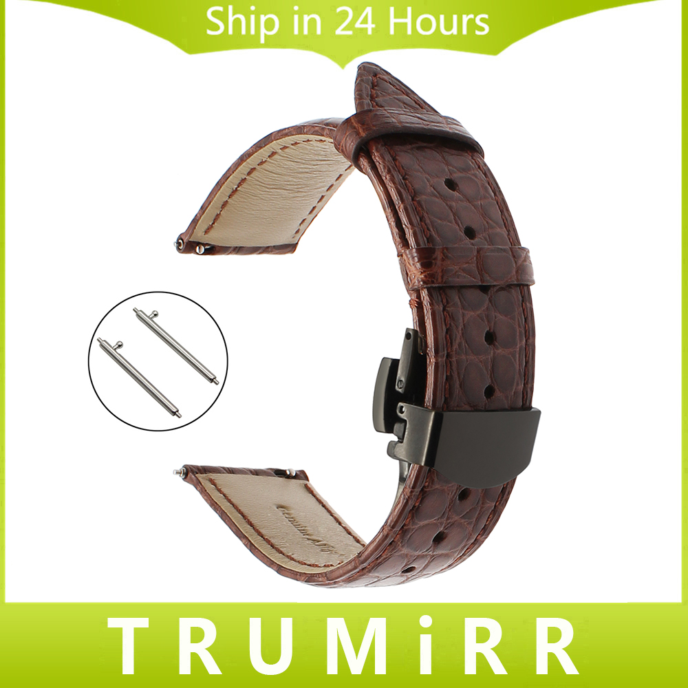 20mm Genuine Alligator Leather Watchband for Samsung Gear S2 Classic R732 R735 Huawei Watch 2 (Sports) Band Quick Release Strap kimisohand 2016 new fashion design genuine leather loop type watch band strap for samsung gear s2 classic sm r732 hot sale