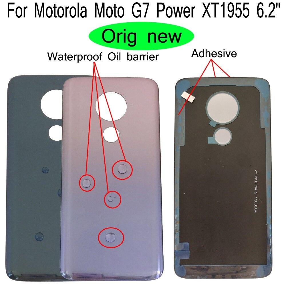 """100% Orig New 6.2"""" For Motorola Moto G7 Power XT1955 Rear Back Door Housing Battery Door Cover + Adhesive"""