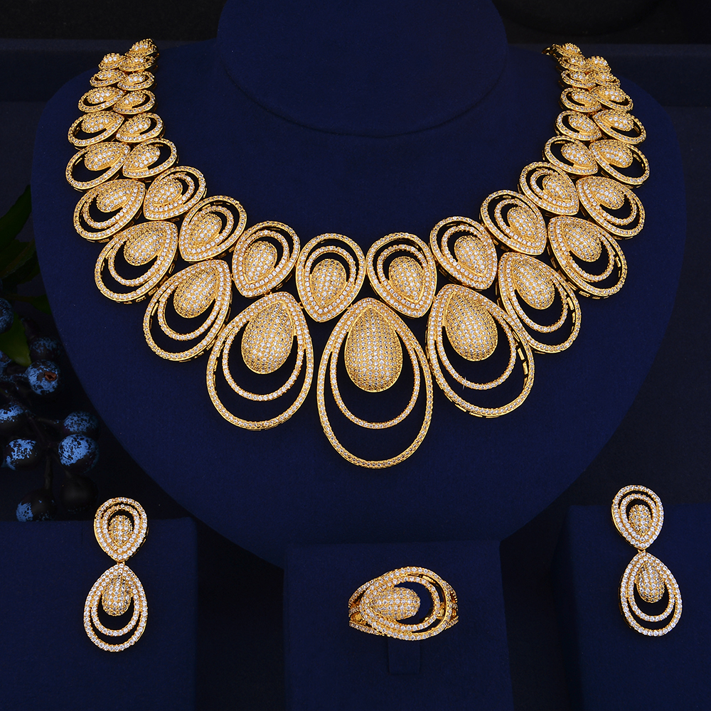GODKI Luxury Water Drop African Necklace Earring Set Jewelry Set For Women Wedding Zircon CZ Dubai Silver Bridal jewelry Set a suit of vintage embellished water drop wedding jewelry set for women