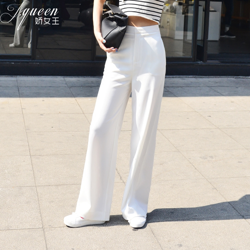 Women   Pants   High Waist Summer White Yellow Black   Wide     Leg     Pants   Zipper Workwear Trousers Office Ladies   Pants   Casual