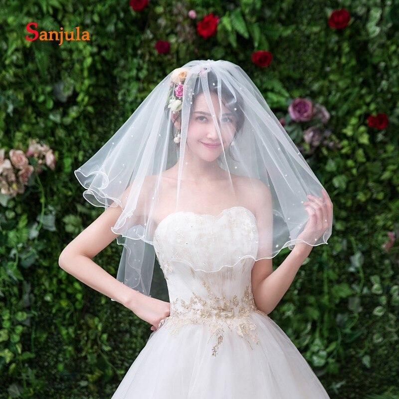 Pencil Edge Pearls Bridal Veils Short 2019 Two-Layer Ivory Tulle Wedding Veil With Comb Velos De Novia Con Cristales V109