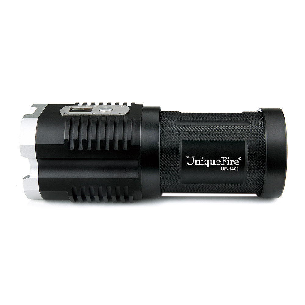 UniqueFire 1401 XM-L2 Powerful Flashlight 4*LEDs 4000LM 5 Modes Digital Display Strong Torch Light+Charger For Camping