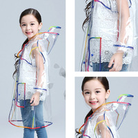 kids raincoat White European and American fashion Siamese jacket creative EVA transparent color edging poncho long walk Z781