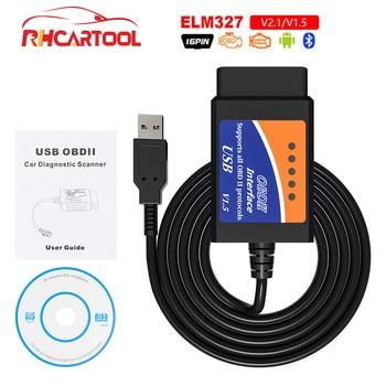 OBD2 ELM327 USB Bluetooth V1.5, interfaz de Cable USB de diagnóstico de coche, compatible con todos los protocolo OBD2 para Windows ELM 327, USB OBD escáner