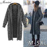 2016 Winter Ladies Retro Miscellaneous Line Loose 5 Xl Super Big Yards Long Thickening Hooded Sweater
