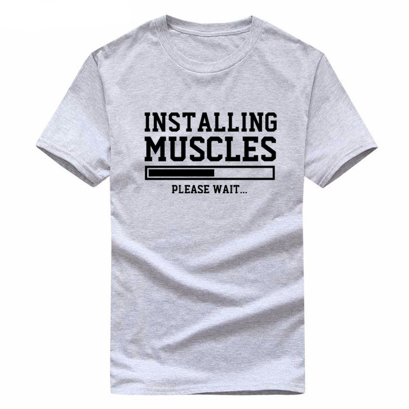 Cotton Workout Shirts For Men - Installing Muscles Tshirt