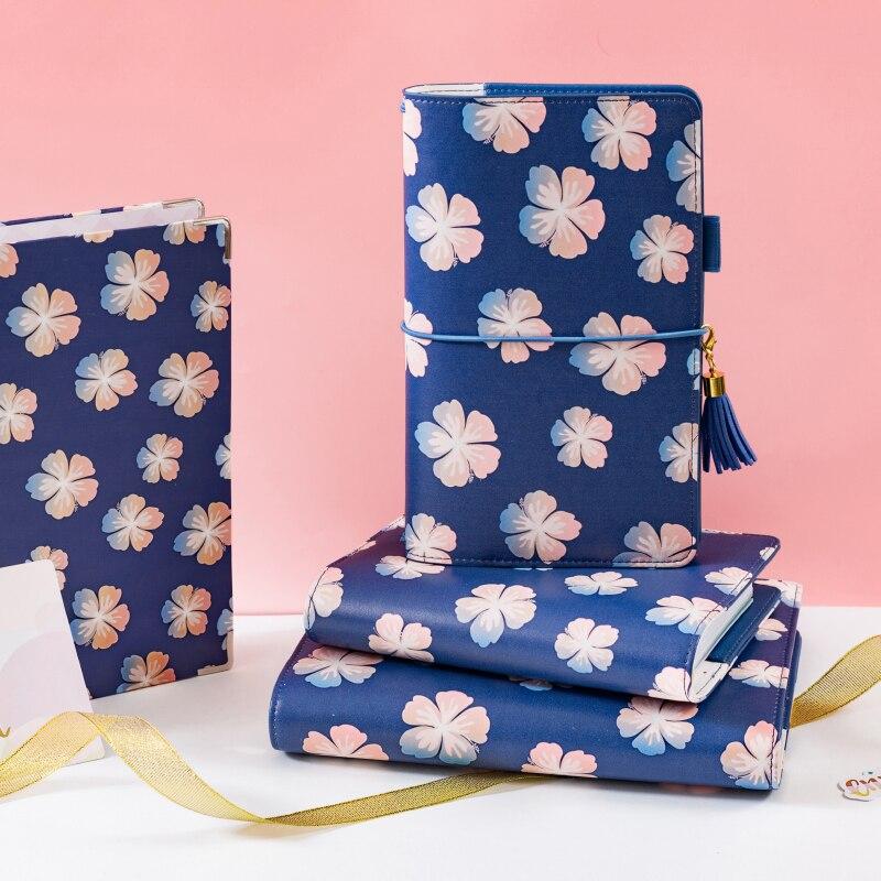Lovedoki Être Belle Comme D'été Fleurs Spirale Portable Couverture En Cuir Journal Hebdomadaire Planificateur A5 Rétro Portable Coréen Papeterie