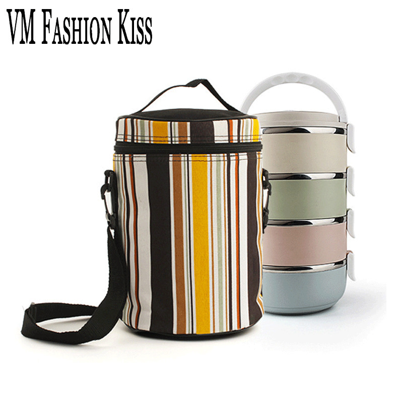VM FASHION KISS Bucket Type Thermal Bag Women Foil Cooler Ice Breast Milk Fresh Lunch Heat Bags Bucket Autumn Anti-hot Hand Men