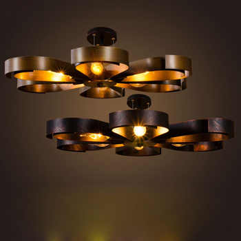 American retro ceiling loft creative personality cafe iron industrial light ultra-thin living room bedroom ceiling lamp led lamp - Category 🛒 Lights & Lighting