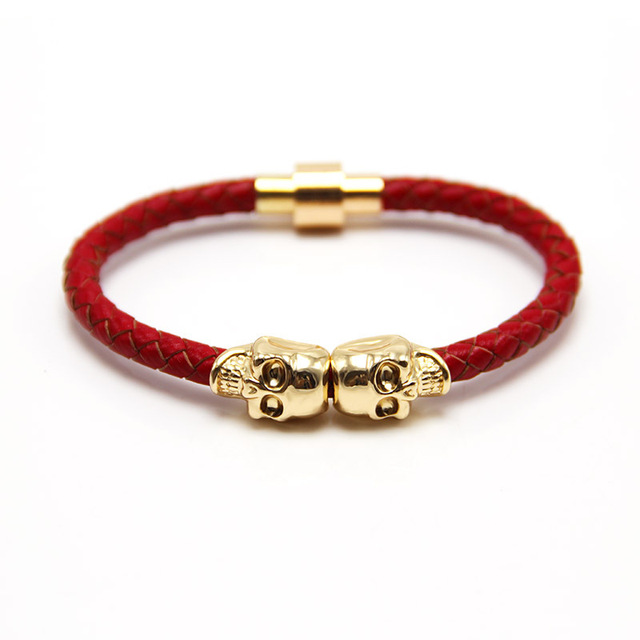 2016 Wholesale New Fashion Punk Genuine Skull Leather man Bracelet for Man Women in colors with twin skull design Men Bangles