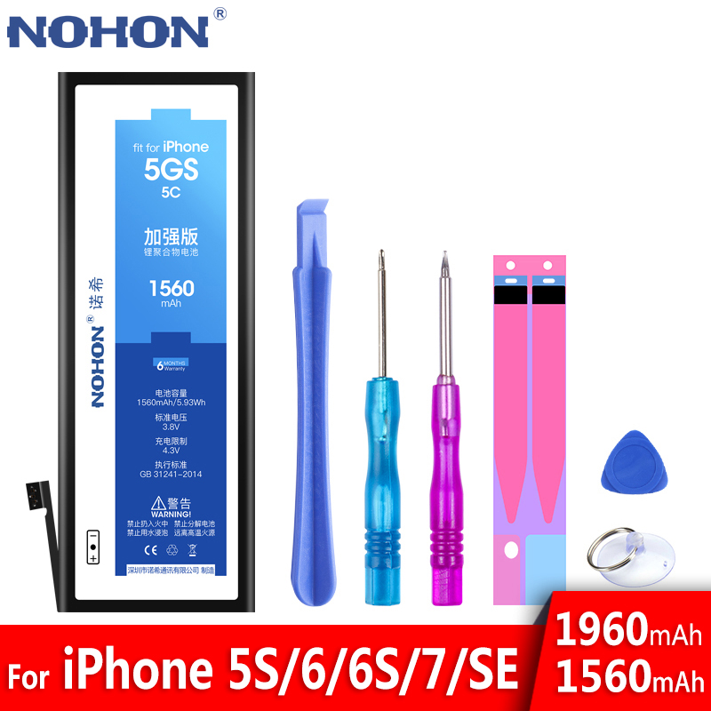 NOHON Battery Replacement-Batteries Apple iPhone 5s Real-Capacity Original Bateria