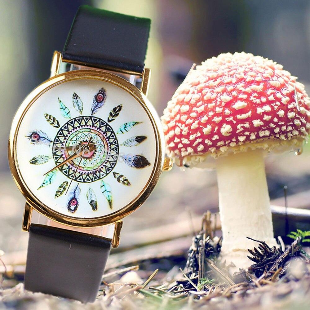 Women Watch Lady Girl Fashion Casual Quartz Watch Peacock Feathers Pattern Wristwatch F20598