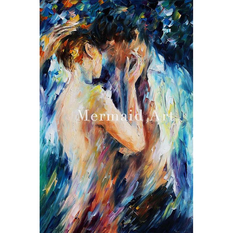 Hand Painted Landscape High Quality Abstract Palette font b Knife b font Kiss Of Passion Oil