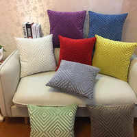 Geometric Pillow Case Chenille Flocking Cushion Cover Grey Yellow Purple Red Home Decorative Pillow Cover 45x45cm/30x50cm