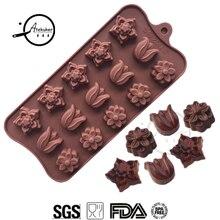 Atekuker мини-форма для цветов для шоколада DIY силиконовая форма для сладостей конфет ледяной кубик лоток для украшения торта инструменты форма для мыла