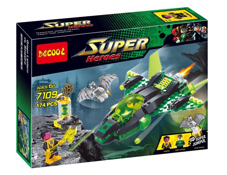 Free Shipping Decool 7109 174Pcs Super Heroes Age Of Ultron gift Batman Green Lantern Spaceship Brick figures