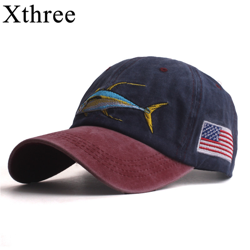Xthree Men's baseball caps for men cap style women hat snapback embroidery fish cap casual casquette dad hat hip hop cap
