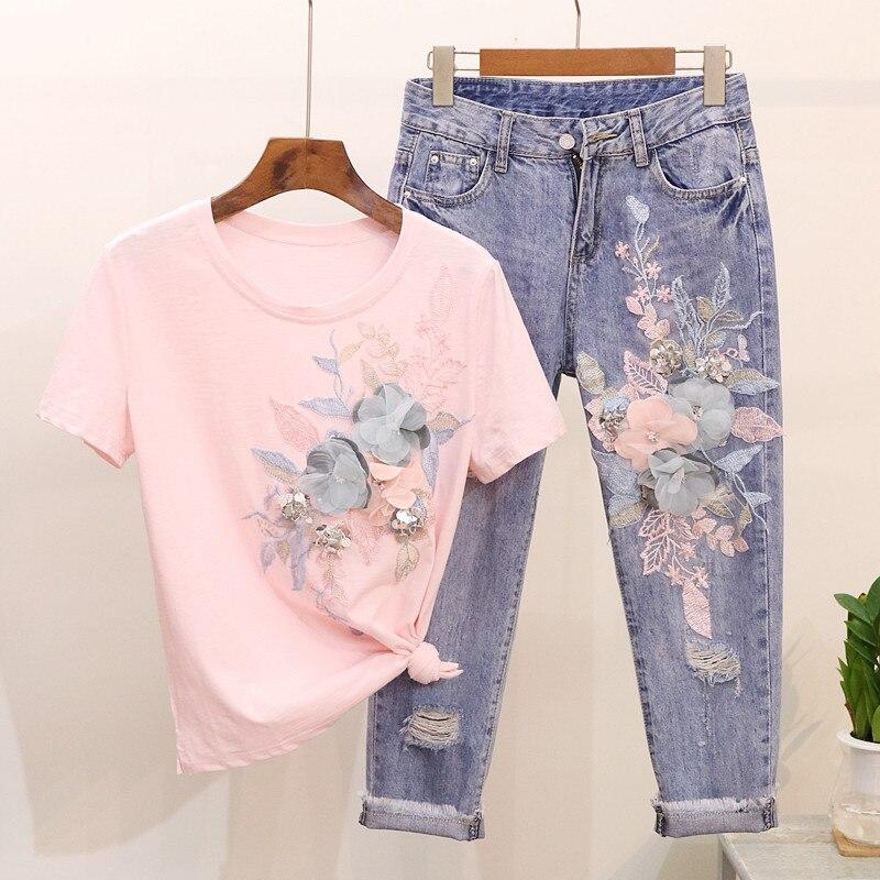 2019 été 2 pièces Jeans costumes Floral broderie coton manches courtes T Shirt hauts + neuf Jeans pantalon ensemble femmes deux pièces ensemble