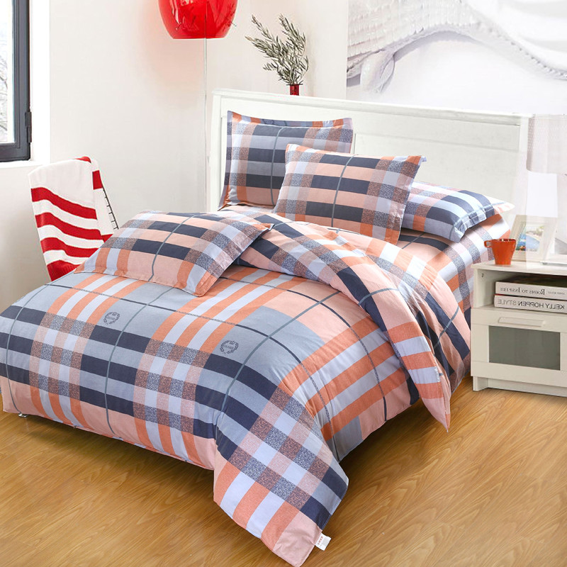 Pink blue plaid beddding set Twin Full Queen King Size Comfortable Quilt cover Duvet Cover bed Sheet pillow cases bedclothes
