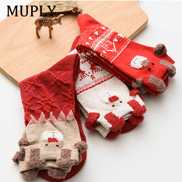 New Women Sock Winter Warm Christmas Gifts Stereo Socks Soft Cotton Cute Santa Claus Deer Socks Xmas Christmas Socks Cute