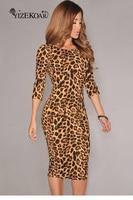 Herfst roupas femininas potlood sexy backless jurken kleding luipaardprint bodycon midi dress lc6560 vestidos femininos