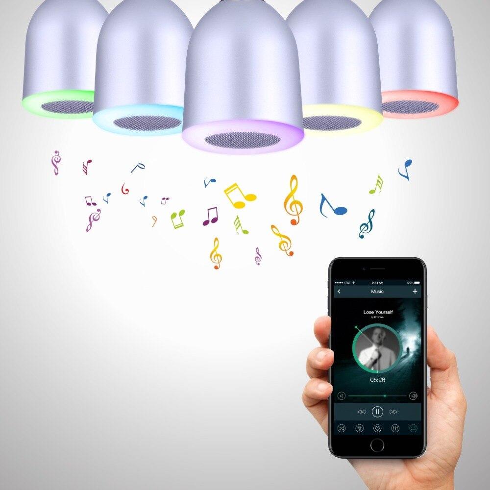 SU06 E26 E27 Bluetooth LED Bulb Speaker smart RGB house Decor Lamp Light lampada bluetooth APP RC Remote Control Bubble Party app controlled smart wake up light table lamp with bluetooth speaker