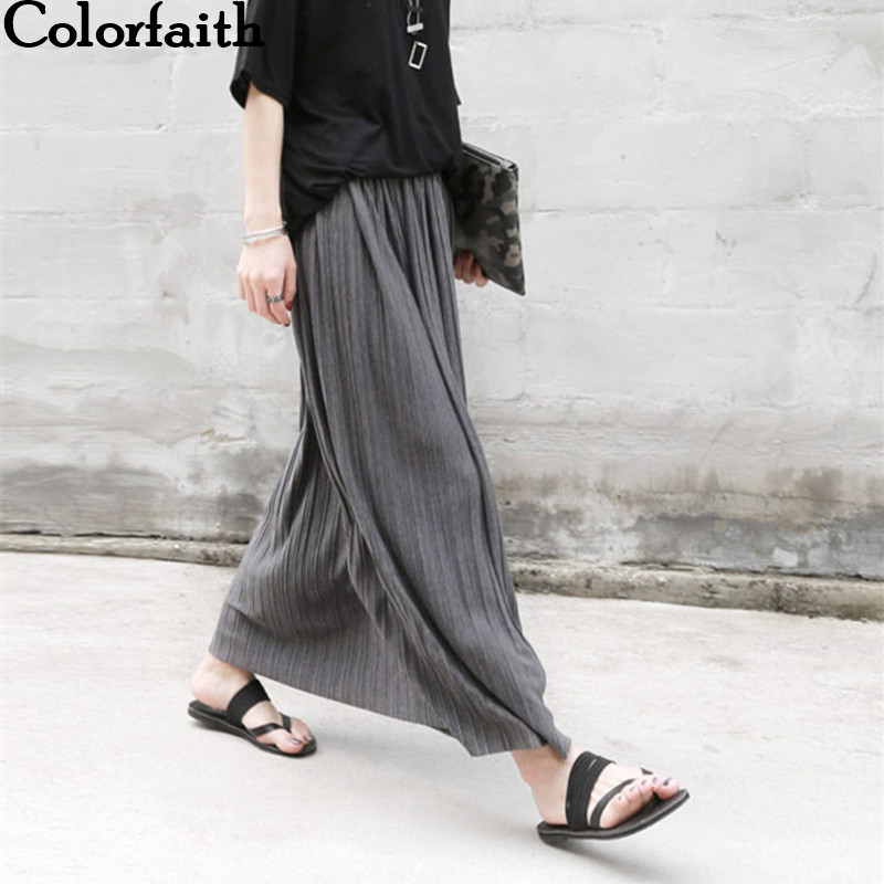 Long Skirt Latest Fashion Ankle Length Cotton Pleated Skirts for Women Autumn Winter High Waist Casual Woman Maxi Skirts 3077