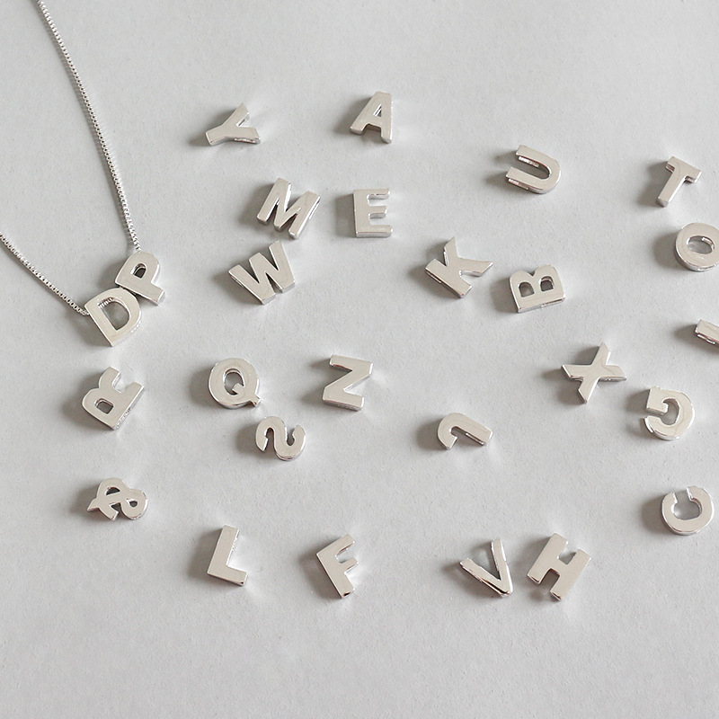 100% 925 sterling silver necklace women box chain accessories, minimalist initials name letters necklaces collares femme jewelry