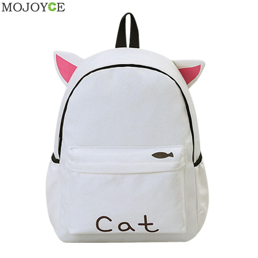 2018 Women Backpack Cute Ear School Bags For Teenage Girls Canvas Backpack Fashion Student Travel Shoulder Bag Mochila Feminina forudesigns cute 3d dachshund dog casual shoulder backpack for women men student school bags travel backpacks laptop bag mochila