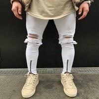 انفجرت الجينز مع الثقوب البيضاء سوبر نحيل الشهيرة مصمم العلامة التجارية يتأهل دمرت جينز سروال رصاص سليم سحاب جينز