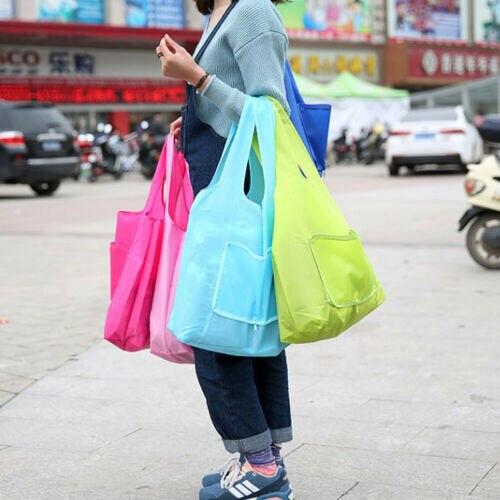 Reusable Fold Away Tote Shopping Bag Clip Eco Friendly Foldable Case Organizer Storage Pouch Toiletry Messenger Bag Handbag