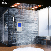 3 Jets Thermostatic Mixer Shower Set With 2 LED Lights Modern Luxury Large SUS304 Waterfall Rainfall