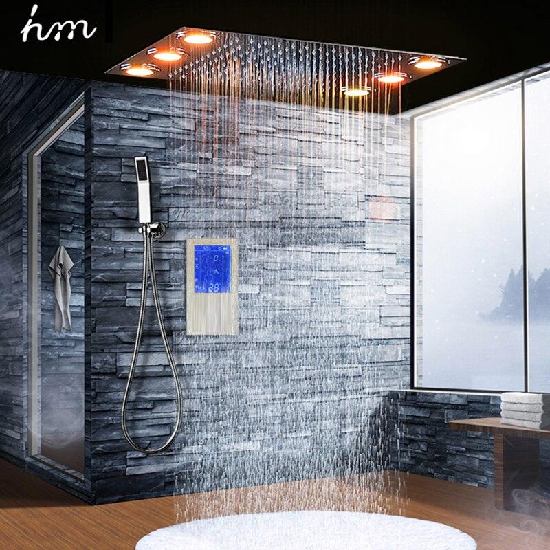 Digital Termostatico Doccia Set Regolatore di Tocco Pannello di Controllo Moderno Di Lusso di Stile Europeo SUS304 Pioggia Bagno LedCeiling