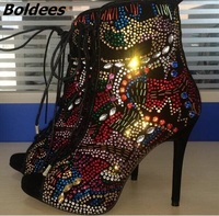 Trend Design Rhinestone Studded Woman Wedding Shoes Bridal Fashion Peep Toe Lace Up Stiletto High Heels Crystal Ankle Boots