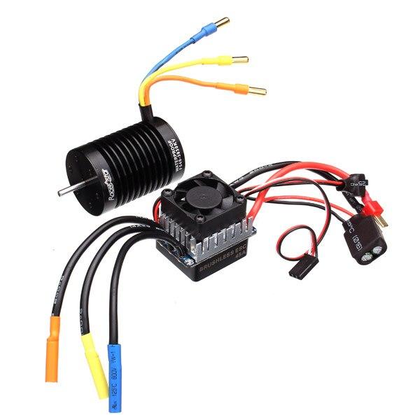 Racerstar 3650 4370KV  Waterproof Brushless Motor 45A ESC For 1/10 Buggy 1:10 Racing Cars waterproof 45a brushless esc